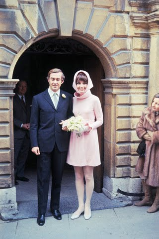18 Jan 1969, Morges, Switzerland --- Film star Audrey Hepburn poses with her new husband, Italian psychiatrist Dr. Andrea Dotti, after their wedding, January 18th. --- Image by © Bettmann/CORBIS